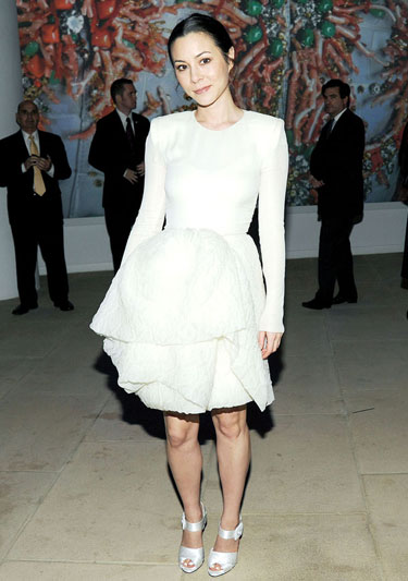 China Chow Make Fun Poof Dress And White Strappy Sandals Look
