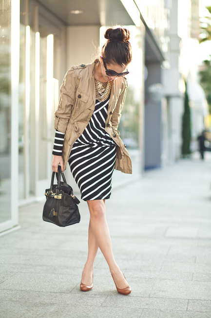 Stripes-Summer-Winter-Fall-Spring-Black-And-White-Trench-Coat