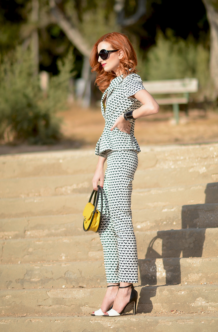 Black-And-White-Printed-Suit-Yellow-Chanel-Bag